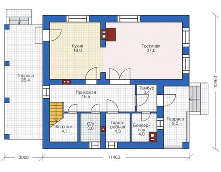 Планировка первого этажа :: Проект дома из кирпича 72-72