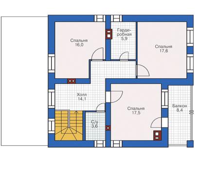 Планировка мансардного этажа :: Проект дома из кирпича 72-72