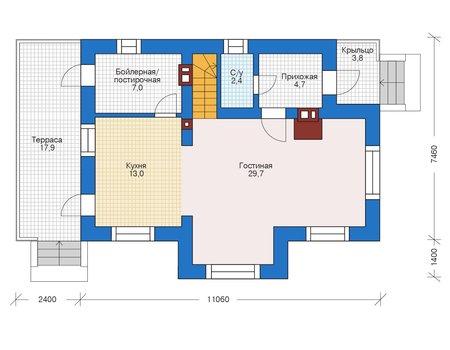 Планировка первого этажа :: Проект дома из кирпича 73-10