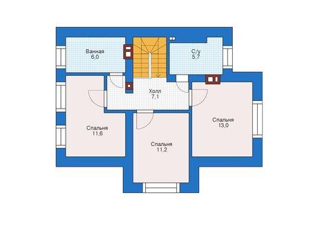 Планировка мансардного этажа :: Проект дома из кирпича 73-10