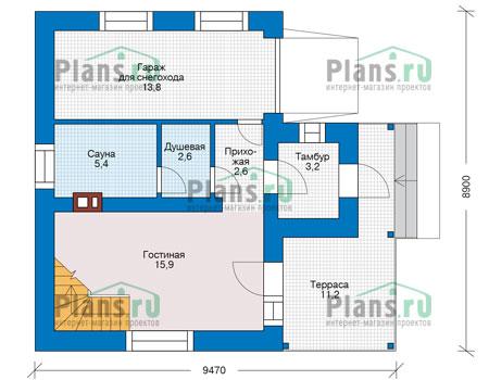 Планировка первого этажа :: Проект дома из кирпича 73-23