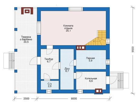 Планировка первого этажа :: Проект дома из кирпича 73-28