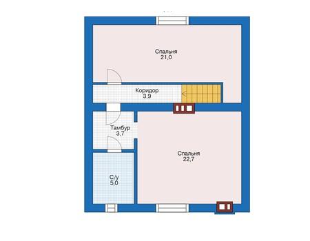 Планировка мансардного этажа :: Проект дома из кирпича 73-28