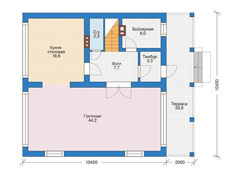 Планировка первого этажа :: Проект дома из кирпича 73-56