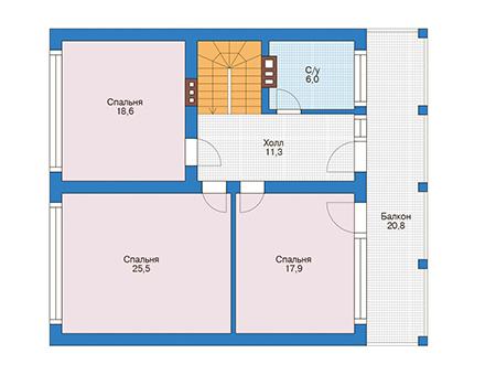 Планировка мансардного этажа :: Проект дома из кирпича 73-56