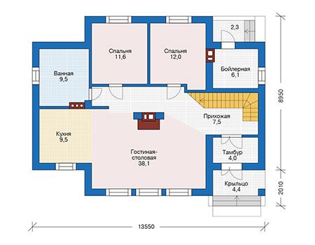 Планировка первого этажа :: Проект дома из кирпича 73-71