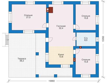 Планировка первого этажа :: Проект дома из кирпича 73-77