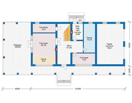 Планировка первого этажа :: Проект дома из кирпича 73-78
