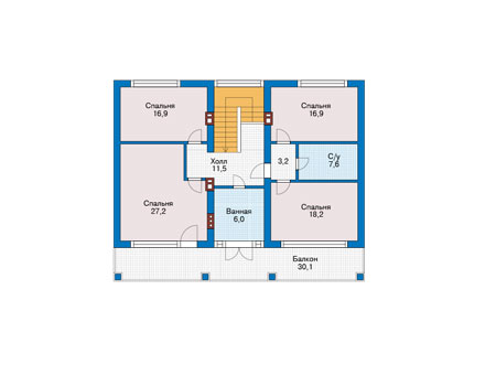 Планировка второго этажа :: Проект дома из кирпича 73-78