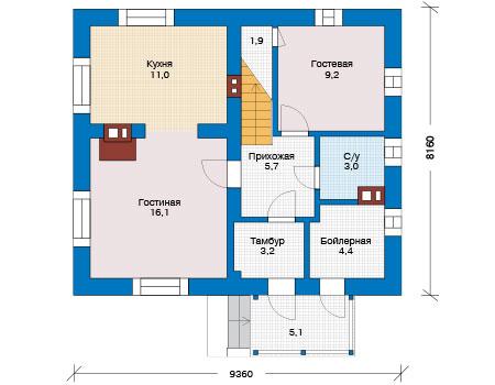 Планировка первого этажа :: Проект дома из кирпича 73-83