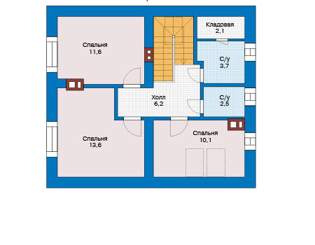Планировка второго этажа :: Проект дома из кирпича 73-83