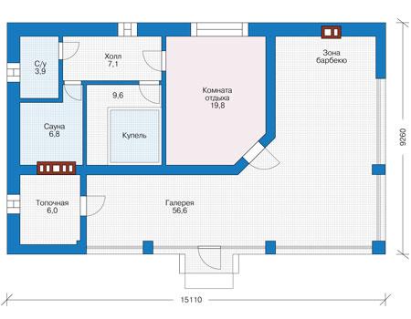 Планировка первого этажа :: Проект дома из кирпича 73-99