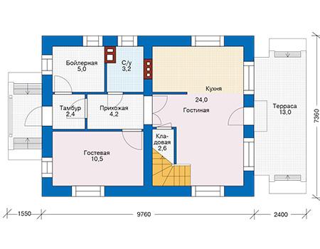 Планировка первого этажа :: Проект дома из кирпича 74-42