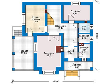 Планировка первого этажа :: Проект дома из кирпича 74-48