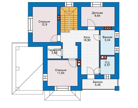 Планировка мансардного этажа :: Проект дома из кирпича 74-48