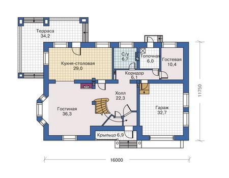 Планировка первого этажа :: Проект дома из комбинированных материалов 80-07