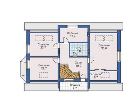 Планировка мансардного этажа :: Проект дома из комбинированных материалов 80-07