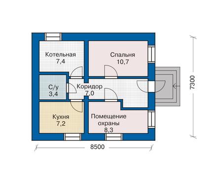 Планировка первого этажа :: Проект дома из кирпича 90-06