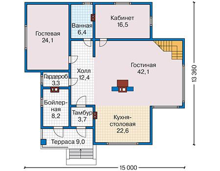 Планировка первого этажа :: Проект каркасного дома 90-14