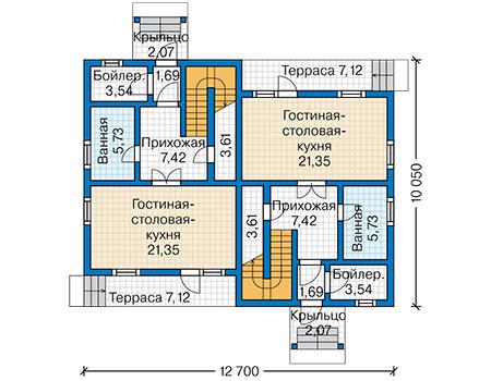 Планировка первого этажа :: Проект каркасного дома 90-16