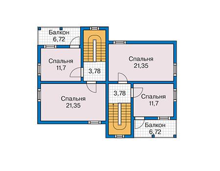 Планировка второго этажа :: Проект каркасного дома 90-16