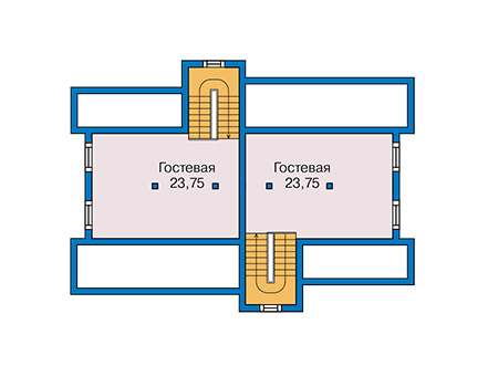 Планировка мансардного этажа :: Проект каркасного дома 90-16