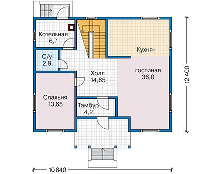 Планировка первого этажа :: Проект каркасного дома 90-17