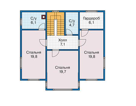Планировка второго этажа :: Проект каркасного дома 90-17