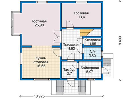 Планировка первого этажа :: Проект каркасного дома 90-19