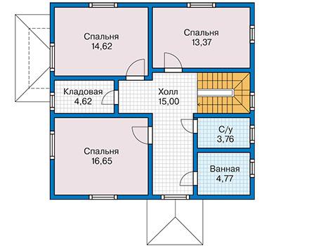 Планировка второго этажа :: Проект каркасного дома 90-19