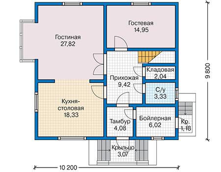 Планировка первого этажа :: Проект каркасного дома 90-20