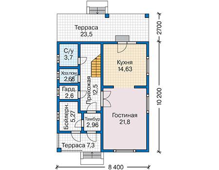 Планировка первого этажа :: Проект каркасного дома 90-23