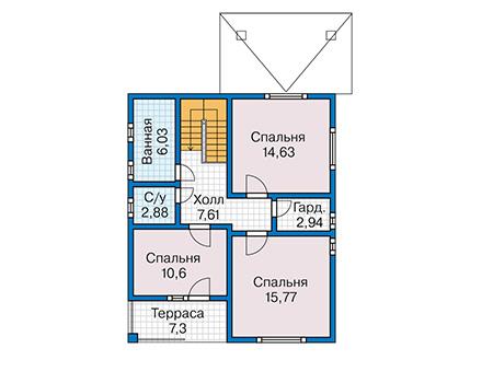Планировка второго этажа :: Проект каркасного дома 90-23