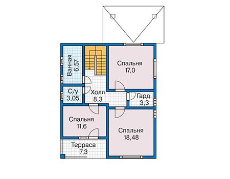 Планировка второго этажа :: Проект каркасного дома 90-24
