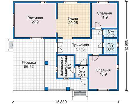 Планировка первого этажа :: Проект каркасного дома 90-25