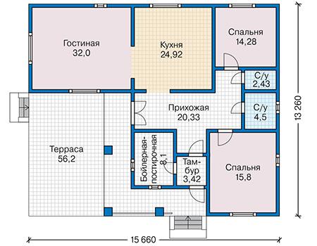Планировка первого этажа :: Проект каркасного дома 90-26
