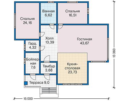 Планировка первого этажа :: Проект каркасного дома 90-28