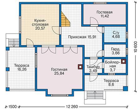 Планировка первого этажа :: Проект каркасного дома 90-29