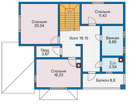 Планировка второго этажа :: Проект каркасного дома 90-29