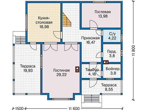 Планировка первого этажа :: Проект каркасного дома 90-30