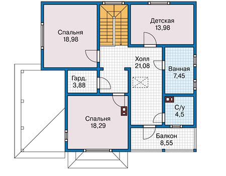 Планировка второго этажа :: Проект каркасного дома 90-30