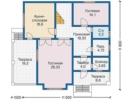 Планировка первого этажа :: Проект каркасного дома 90-32