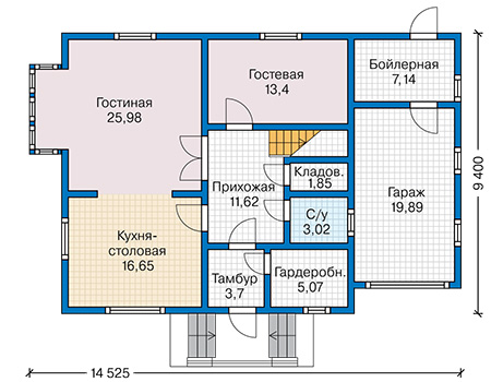 Планировка первого этажа :: Проект каркасного дома 90-33
