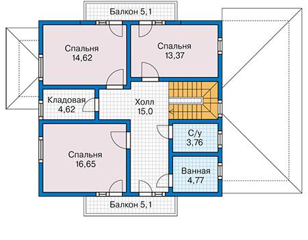Планировка мансардного этажа :: Проект каркасного дома 90-33