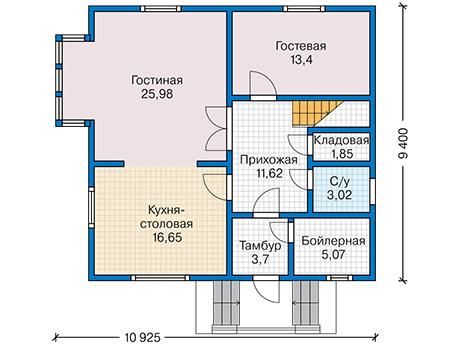 Планировка первого этажа :: Проект каркасного дома 90-35