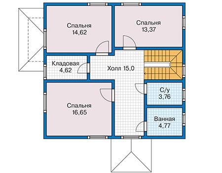 Планировка мансардного этажа :: Проект каркасного дома 90-35