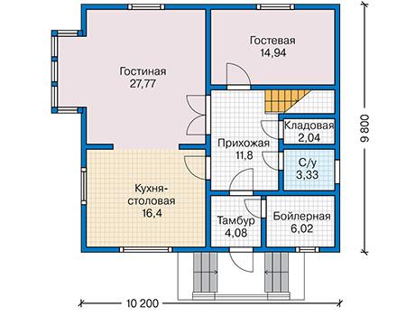 Планировка первого этажа :: Проект каркасного дома 90-36