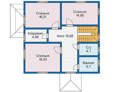 Планировка мансардного этажа :: Проект каркасного дома 90-36