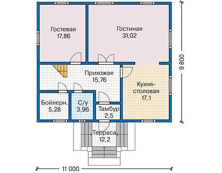 Планировка первого этажа :: Проект каркасного дома 90-37