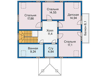 Планировка мансардного этажа :: Проект каркасного дома 90-37